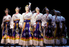 Chinese Tibetan ethnic dancers Royalty Free Stock Photos