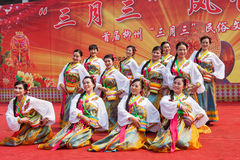 Chinese Tibetan ethnic dancers Stock Photo