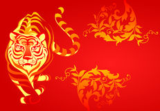 Chinese tiger. White tiger on a red background. A  illustration Stock Image