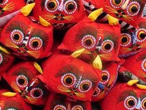 Chinese tiger hats. Red traditional China tiger head hats for children, in array stock photos