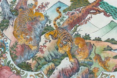 Chinese tiger painting on Chinese temple Royalty Free Stock Photos