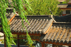 Chinese tile roof stock photo