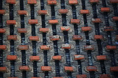 Chinese tiled roof with bricks Stock Image