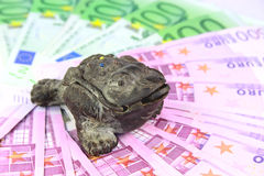 The Chinese toad of happiness. With three paws sits on money Royalty Free Stock Photo