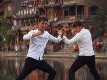 Chinese Toeristen Kung Fu Pose Stock Afbeelding