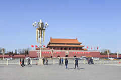 Chinese toeristen op Tiananmen-Vierkant, Peking, China Stock Fotografie