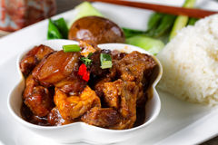 Chinese tofu and meat with vegetable dish ready to eat Stock Photos
