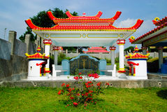 Chinese tombstone. On cemetary on Bandung, Indonesia royalty free stock photography