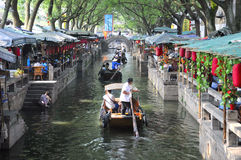 Chinese Tongli Town Restaurants and Water Canal Royalty Free Stock Photos
