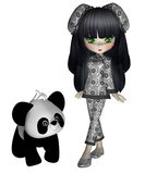 Chinese toon girl 1. 3D render of cute Chinese toon girl with a panda bear vector illustration