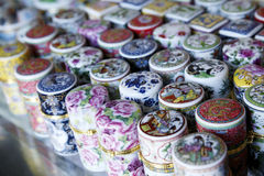 Chinese toothpick box. Exquisite variety of Chinese porcelain toothpick box,they are also a kind of artware royalty free stock photo
