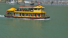 Chinese tour boat. On Yangtze River stock photo