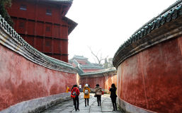 Chinese tour sites. With ancient building and some vistors.Taken in Wudang mountain of Shiyan city of China.On Dec.12,2011 Royalty Free Stock Images