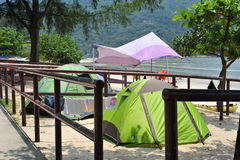 Chinese tourism camping in the beach Stock Photography