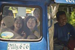 Chinese tourist girls. Boracay, Philippines - February 12, 2016. Chinese tourist girls transporting in a tricycle. Boracay Philppines stock photos