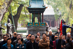 Chinese tourists. In Jinci Temple,  Taiyuan, Shanxi, China. Jinci Temple is official residence in ancient China, it is representative of the traditional Chinese Stock Images