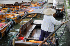 Chinese tourists boats Tongli Town Stock Image