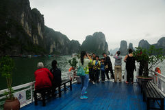 Chinese Tourists on Ha Long Bay Royalty Free Stock Photos