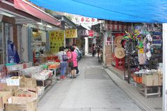 Chinese tourists shop at Lantau Island,Hongkong Stock Image