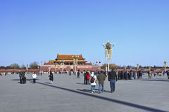 Chinese tourists on sunny Tiananmen, Beijing. BEIJING–DEC. 8. Chinese tourists walk on a sunny Tiananmen, the most famous monument in Beijing and widely used Stock Image
