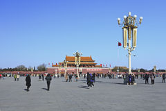 Chinese tourists on sunny Tiananmen, Beijing Royalty Free Stock Photography