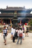 Purple Bamboo Temple Putuoshan China. Chinese tourists at the unwilling to leave Guanyin monastery on the island of putuoshan China in Zhejiang province Stock Photography
