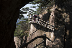 Chinese tourists walking on Yellow Mountain Huangshan China Stock Image