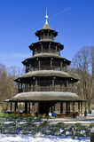Chinese tower. The historic tower Chinesischer Turm of Munich in Bavaria Stock Image