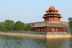 Chinese tower and canal in Beijing Stock Image