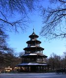 Chinese tower in English garden at Munich Royalty Free Stock Images
