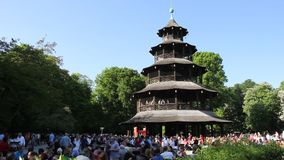 Chinese Tower - English Garden Munich stock video