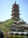 Chinese tower and  pavilion Stock Image