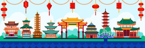 Free Chinese Town Design Elements. Travel To China Flat Illustration. Traditional Pagoda And Lanterns Background Stock Photo - 125283740