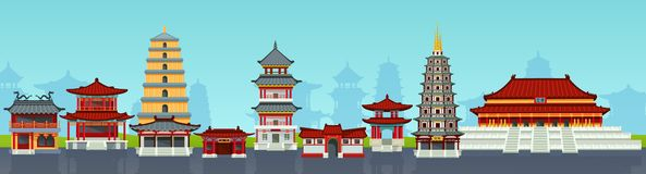 Chinese town design house chinatown urban city landscape. royalty free illustration