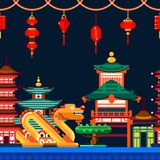Chinese town seamless horizontal background. Travel to China vector flat illustration. Night Asian cityscape vector illustration