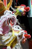 Chinese Toys. Puppets of three lions and a dragon for sale in Chinatown during Lunar New Year season in New York City stock images
