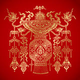 Chinese tradional Lantern on red background. Stock Photo