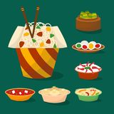 Chinese cuisine tradition food dish delicious asia dinner meal china lunch cooked vector illustration. Chinese tradition food dish dumpling delicious cuisine vector illustration