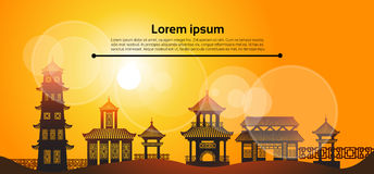 Chinese Traditional Abstract Buildings Asian Landscape Banner. Flat Vector Illustration Stock Photos