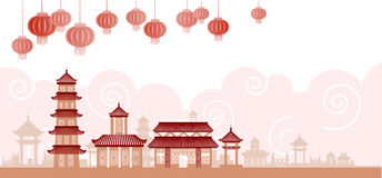 Chinese Traditional Abstract Buildings Colorful Ornament Banner Stock Photos