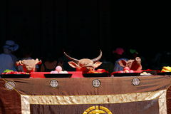 Chinese traditional ancestor worship or sacrifice ceremony. It is hold in an ancient town, Anhui Xidi Hongcun town, there are pig& x27;s head, sheep& x27;s stock photos