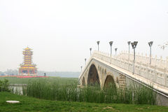 Chinese traditional architectural landscape stone bridge Stock Photos