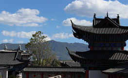 Chinese traditional architecture. With mountains behind it in China Stock Images
