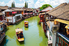 Chinese traditional architecture and canal in Shanghai Zhujiajiao water town. Shanghai, China - August 8, 2016 : Chinese traditional architecture and canal in Royalty Free Stock Image