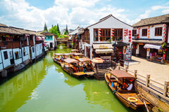 Chinese traditional architecture and canal in Shanghai Zhujiajiao water town. Shanghai, China - August 8, 2016 : Chinese traditional architecture and canal in Stock Photo
