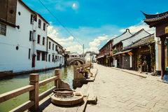 Chinese traditional architecture and canal in Shanghai Zhujiajiao water town Stock Photos