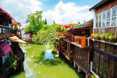 Chinese traditional architecture and canal in Shanghai Zhujiajiao water town Royalty Free Stock Image