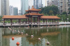 Chinese traditional architecture and lakes Royalty Free Stock Photo