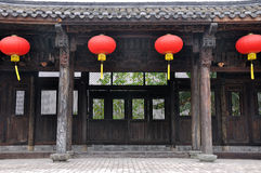 Chinese traditional architecture and red lantern Stock Photos