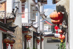 Chinese traditional architecture and red lanterns Royalty Free Stock Image